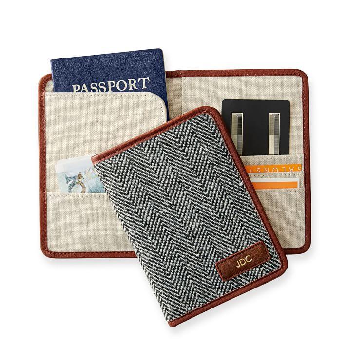 mark and graham herringbone custom monogram passport