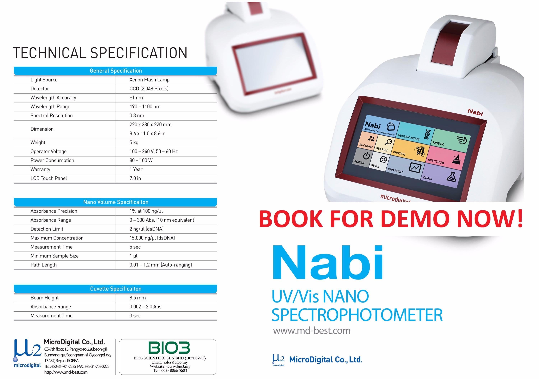 Nabi UV/ Vis Nano Spectrophotometer
