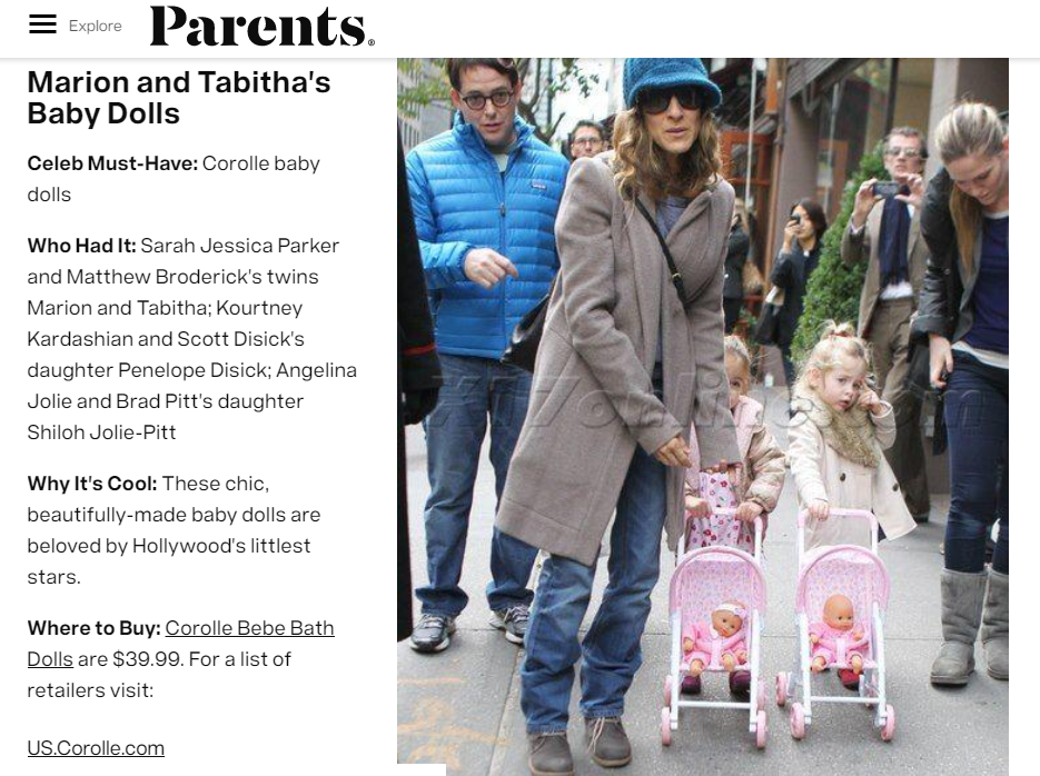 Corolle, Parents Magazine
