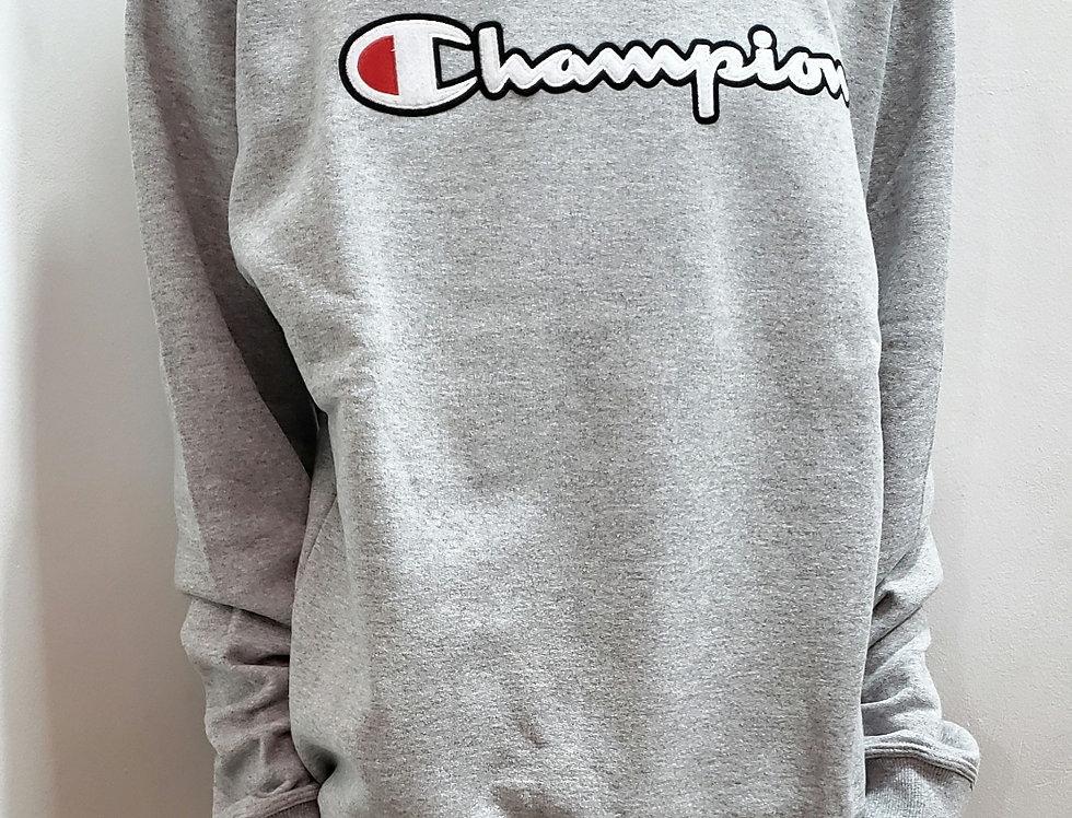 Moletom Champion Powerblend Graphic Crew Patch Logo - Grey