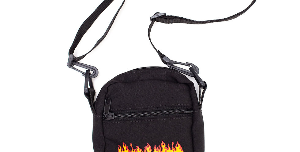 Shoulder Bag Thrasher Flame Logo - Black