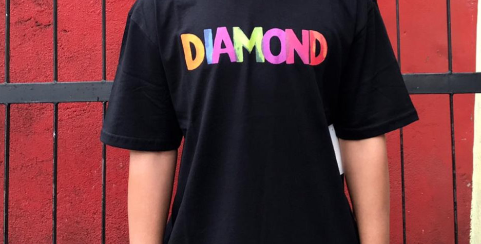 Camiseta Diamond Watercolor  Front & Back -Black