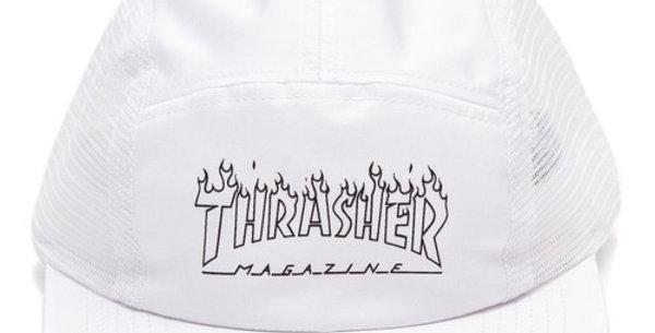 Boné Five Panel Thrasher Flame Outline - White