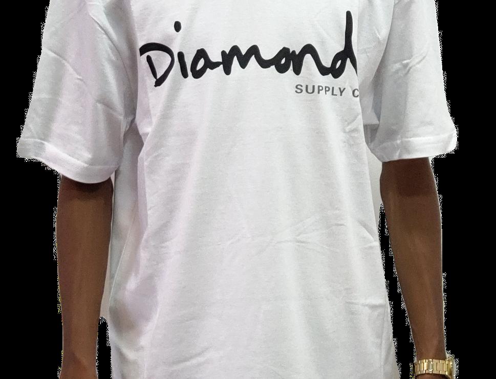 Camiseta Diamond OG Script Tee - White