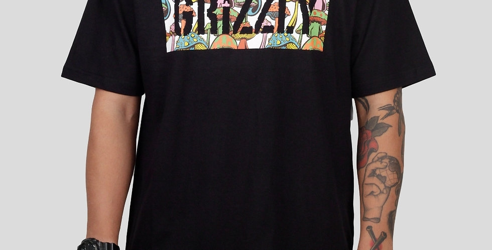 Camiseta Grizzly Fungi Box Logo Tee - Black