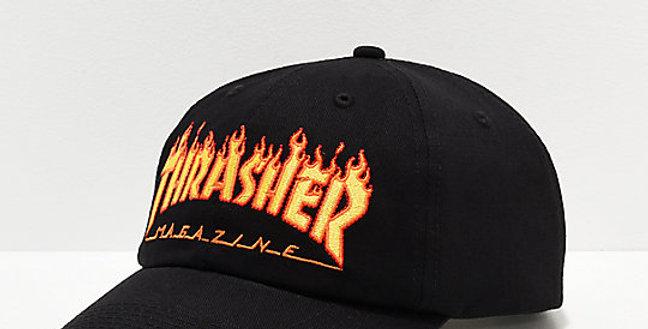 Boné Thrasher Flame Old Timer Dad Hat Strapback - Black