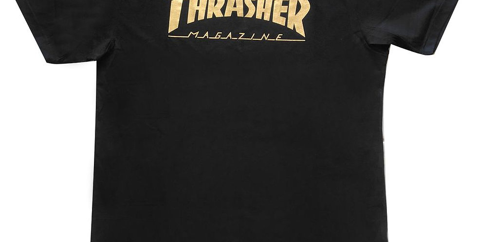 Camiseta Thrasher Gold Foil Magazine Logo - Black