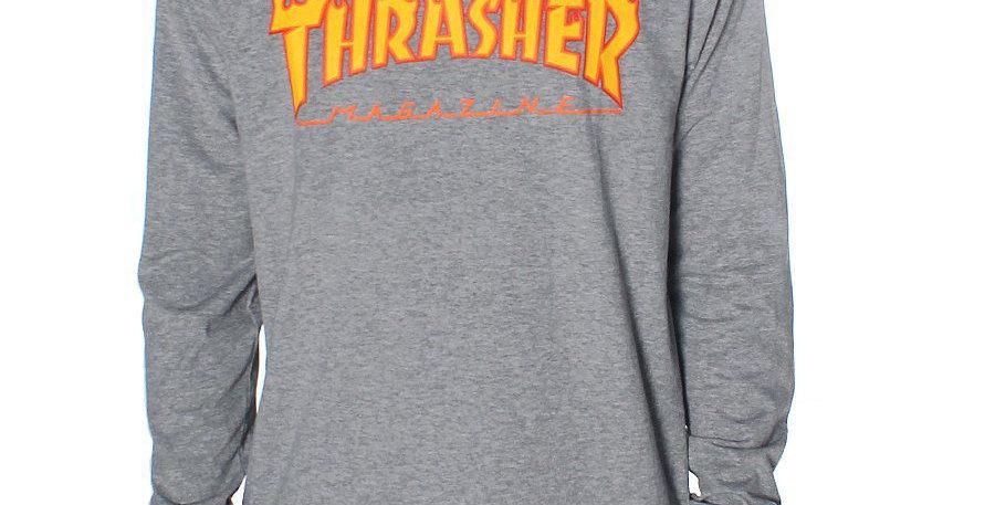 Camiseta Long Sleeve Thrasher Flame Logo - Gray
