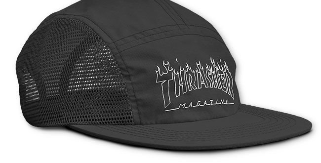 Boné Five Panel Thrasher Flame Outline - Black