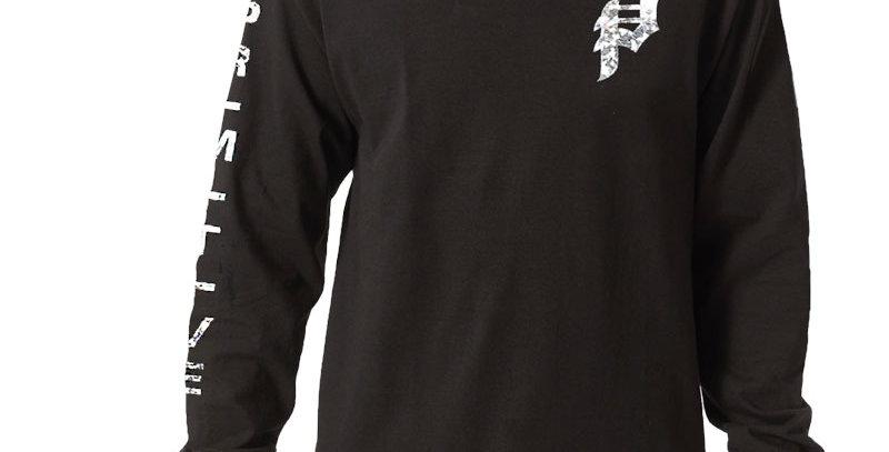 Camiseta Long Sleeve Primitive Dirty P Hologram Foil - Black