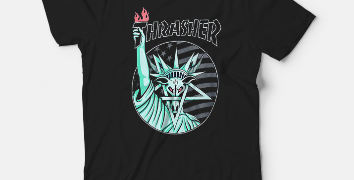 Camiseta Thrasher Liberty Goat - Black