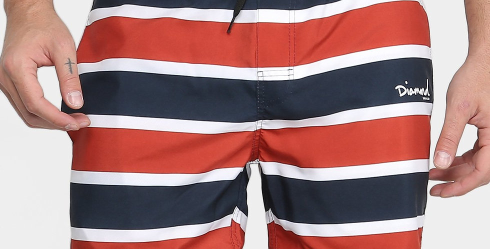 Shorts Diamond Mini OG SCRIPT STRIPED - Red/Navy
