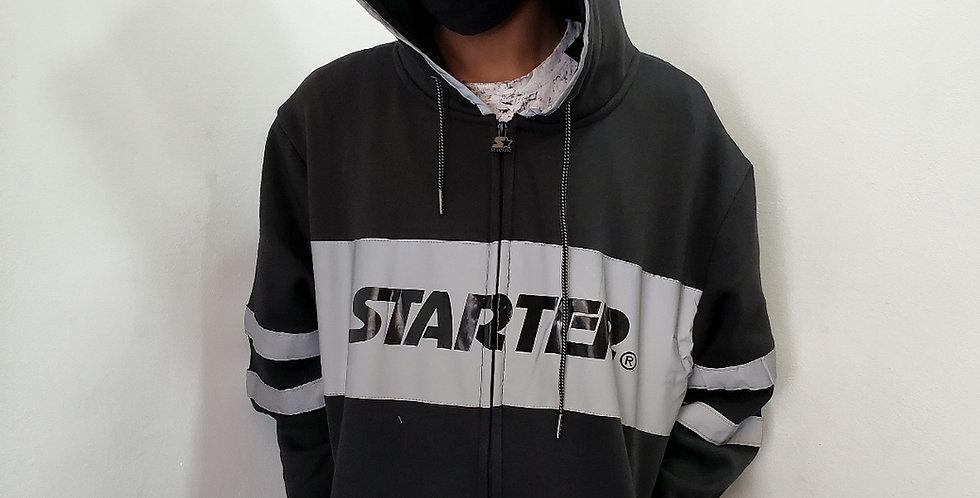 Moletom Starter Faixa Refletivo Aberto - Black