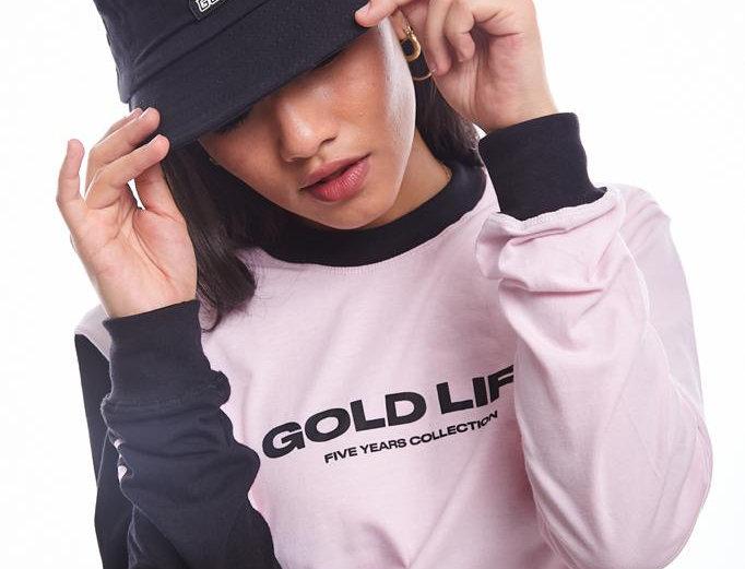 Camiseta Long Sleeve Gold Life  B Side - Pink & Black