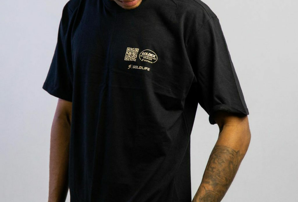 Camiseta Gold Life Mail Label - Black