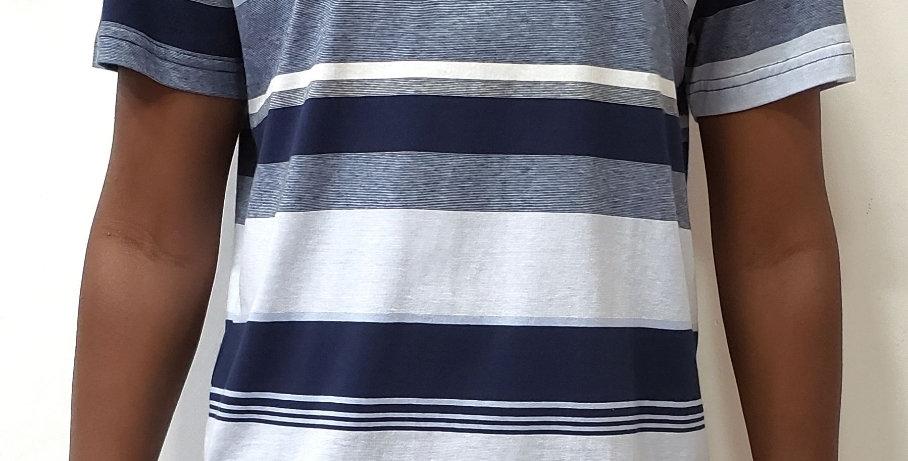 Camiseta Hocks Listrada Tríplice - Blue