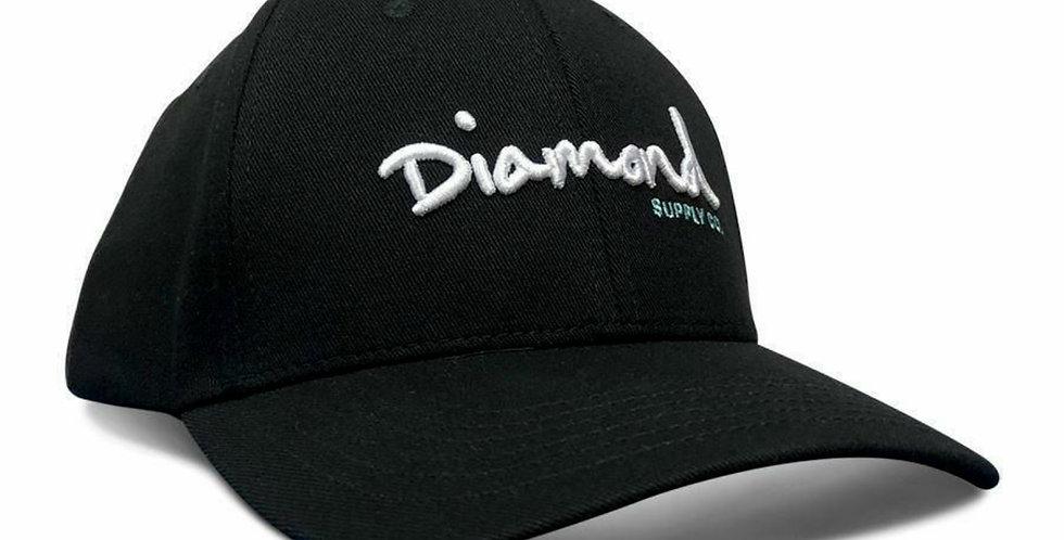 Boné Diamond OG Script Baseball Snapback - Black