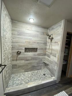 Wood look tile shower