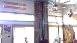 Rustic wood stove surround