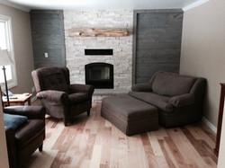 Cozy nook fireplace stonework