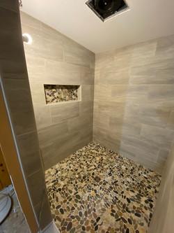 Kerdi-Schluter shower system, clean look, stone floor