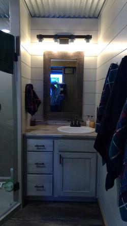 Shiplap bathroom walls, clean look