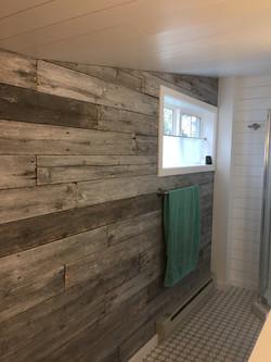 Beautiful repurposed cedar decking wall