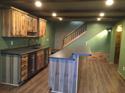 Finished walkout basement with added bar