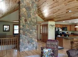 Northwoods home, stone chimney