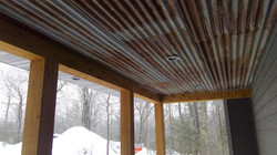 Outdoor roof on covered porch, rustic modern