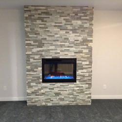 Modern gas fireplace surround