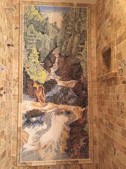 Custom mosaic tile shower