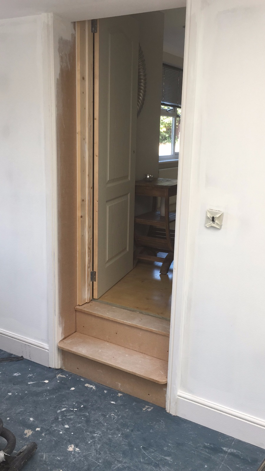 Creation of doorway and step