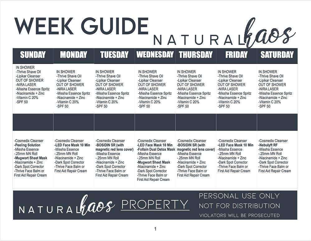 Natural Kaos Skin Care Week View