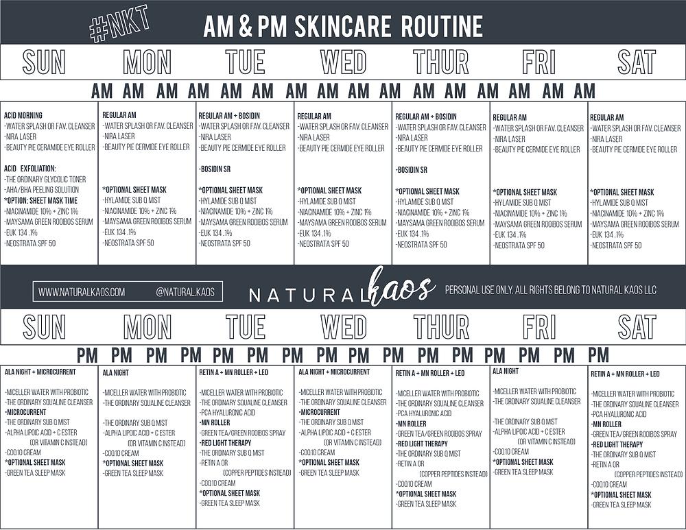Natural Kaos EUK 134 Skin Care Routine Calendar