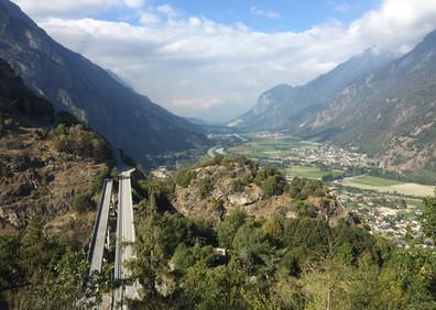 Ponts de Gueuroz et vallée du Rhône de Vernayaz à St-Maurice