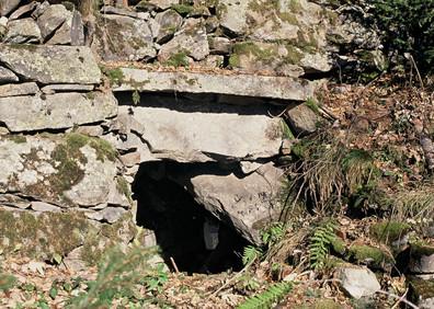 Ancien abri de berger dans les murs en pierre sèche du They