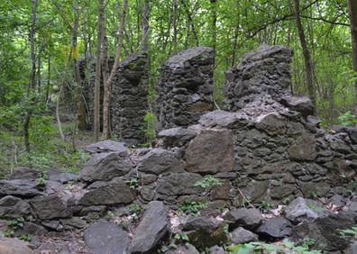 Ruines de l'ancienne usine de bois de fusil au pied de la Pissevache