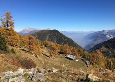 Alpage des Tseppes et vue sur la vallée du Rhône