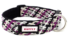 Handmade Northern Lights Collar on black handwoven fabric and with Huckleberry Purple knotted ribbon