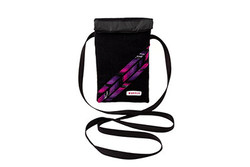 Mini crossbody shoulder bag in black handwoven fabric with pink and purple decoration
