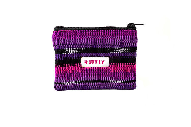 Handwoven change purse in purple, pink, and black with inlaid pink RUFFLY label