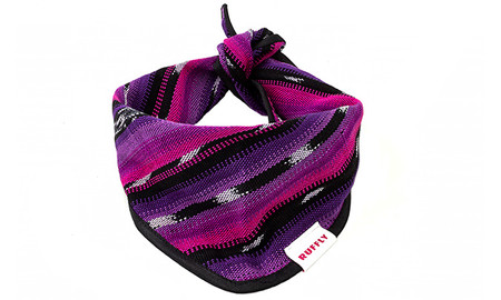 Outdoor dog bandana with handwoven fabric in purple, pink, and black