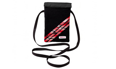 Mini crossbody shoulder bag on black with red highlights and waterproof interior