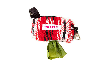 Dog poop bag holder made from handwoven fabric in red, black, and white