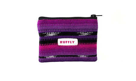 Change and coin purse from handwoven fabric in pink, purple, and black