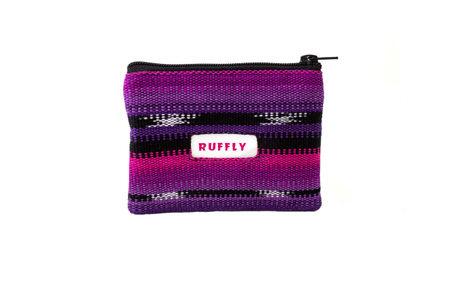 Minimalist, artisan-made, leather-free change purse in pink and purple fabric