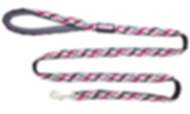 Outdoor dog leash with teardrop handle and pink decoration on black handwoven fabric