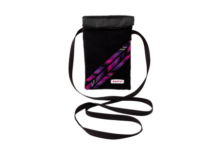 Handwoven crossbody shoulder bag in black fabric with pink and purple offsets
