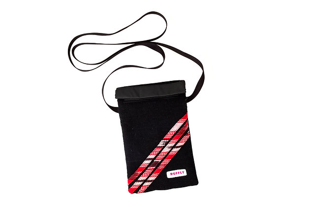 Handwoven mini crossbody bag with narrow strap and red stripe design